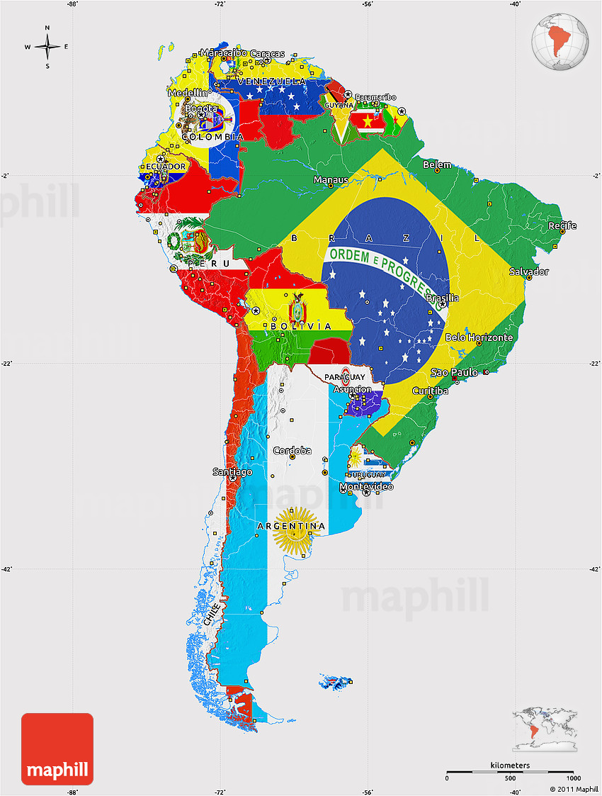 Flag Map Of South America