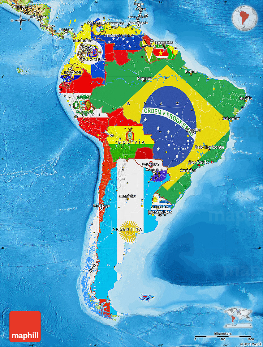 Flag Map Of South America Physical Outside Bathymetry Sea - Physical map of central and south america