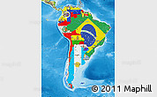 Flag Map of South America, physical outside