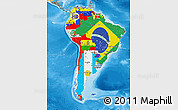Flag Map of South America, political shades outside