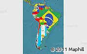 Flag Map of South America, satellite outside