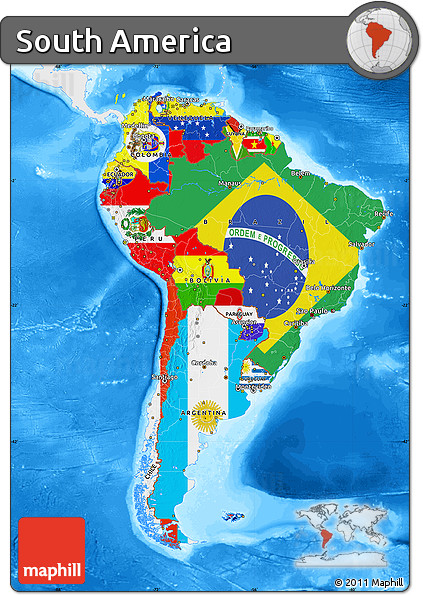 Free flag map of south america single color outside for What color is south america