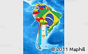 Flag Map of South America, single color outside, bathymetry sea