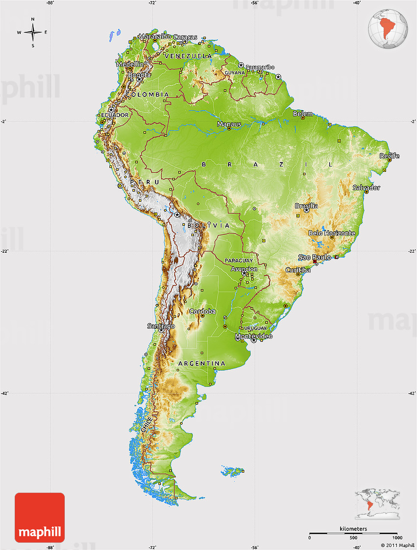 Physical Map Of South America Cropped Outside - South america map physical