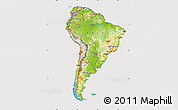 Physical Map of South America, cropped outside