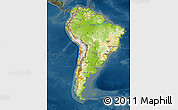 Physical Map of South America, darken