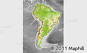 Physical Map of South America, desaturated