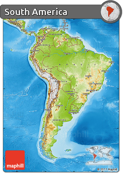 Free Physical Map Of South America - South america physical map