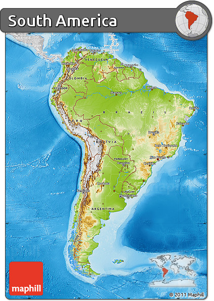Free physical map of south america lighten desaturated for How to get free land in usa