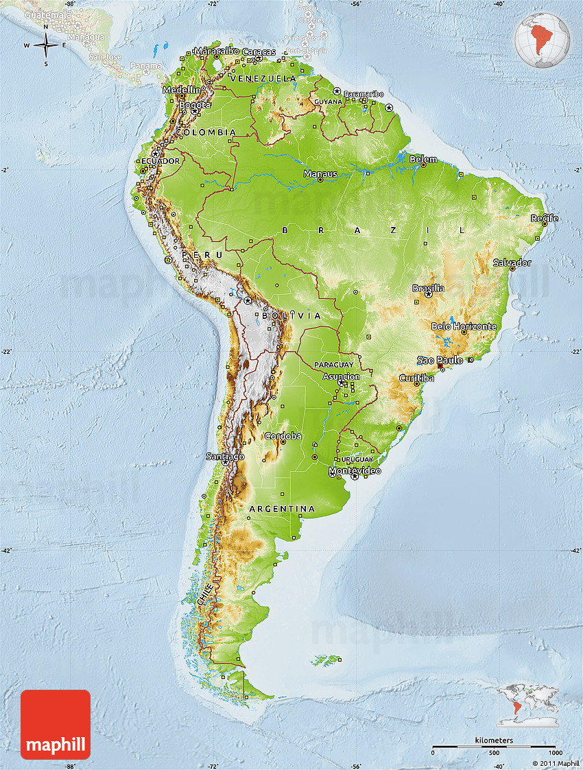 south america features map