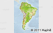 Physical Map of South America, lighten