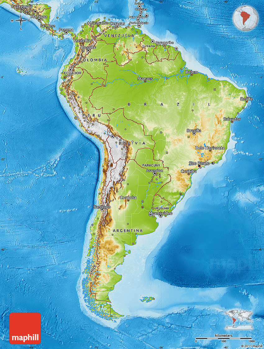 Of South America America Continent Map World Map Physical - Physical map of western us