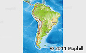 Physical Map of South America, political outside, shaded relief sea