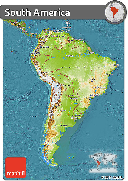 Free Physical Map of South America satellite
