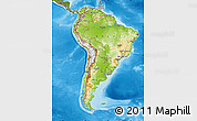 Physical Map of South America, satellite outside, shaded relief sea