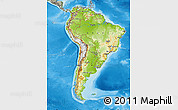 Physical Map of South America, semi-desaturated, land only