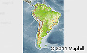 Physical Map of South America, semi-desaturated