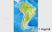 Physical Map of South America, single color outside