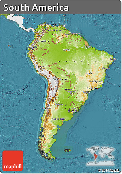 Free physical map of south america single color outside for What color is south america