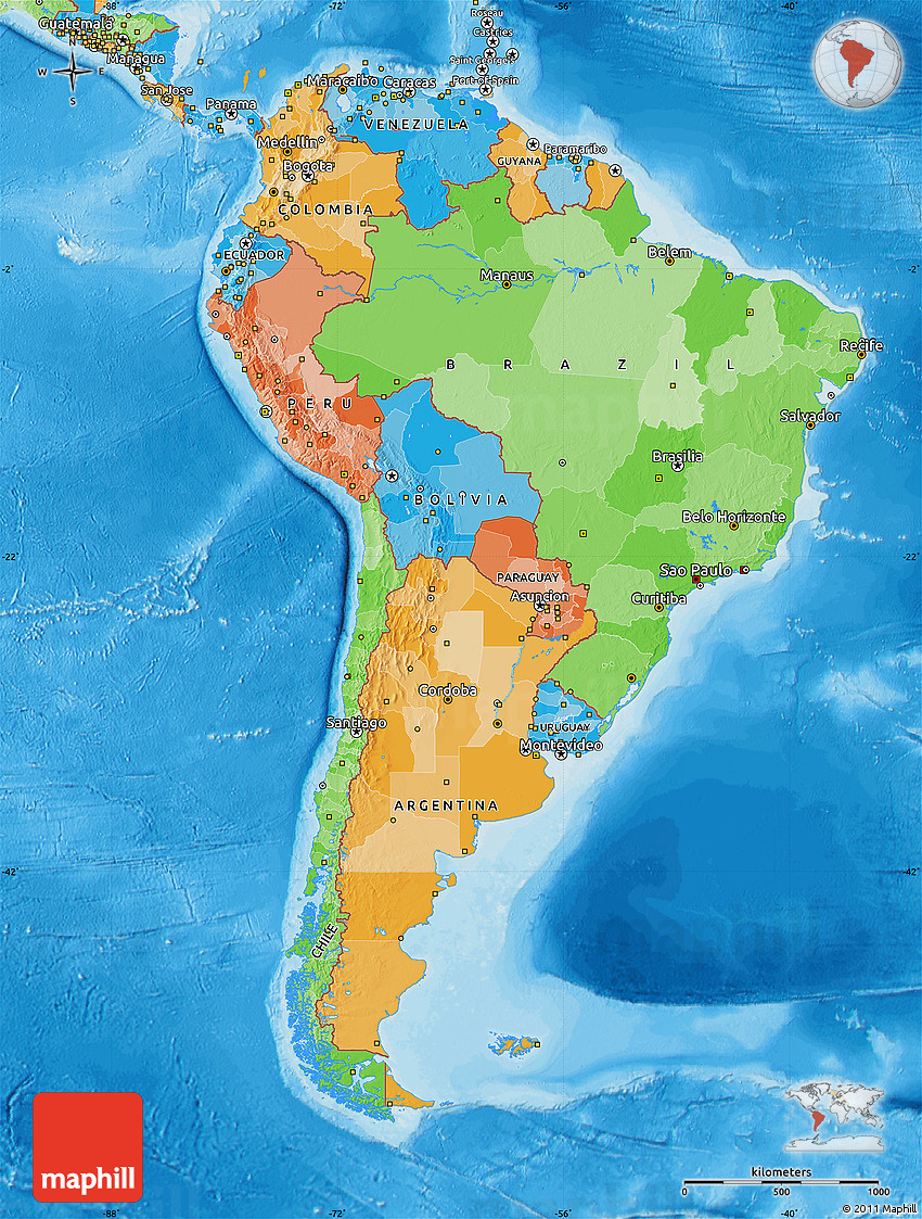 Political Map Of South America - Political south america map