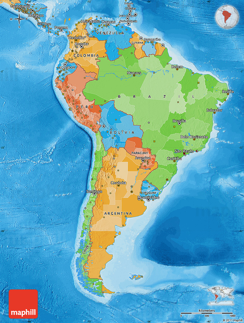 Political Map of South America, political shades outside