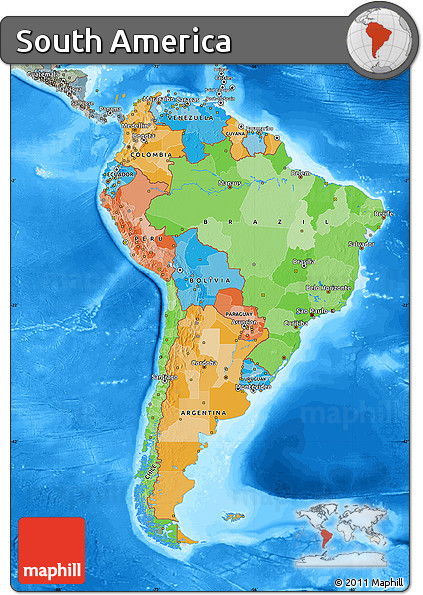 Free political map of south america semi desaturated for How to get free land in usa