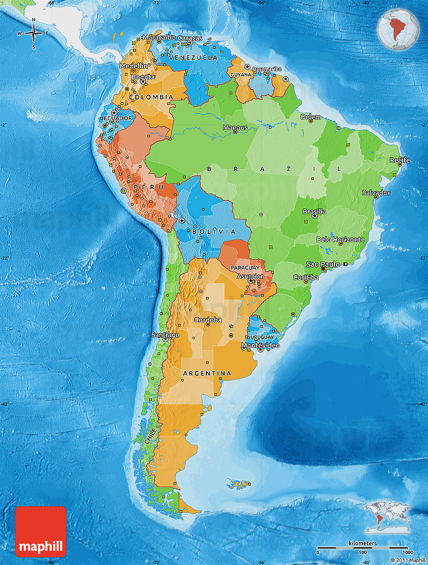 Political map of south america single color outside for What color is south america