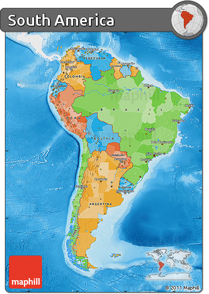 Free political map of south america single color outside for What color is south america
