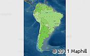 Political Shades Map of South America, darken