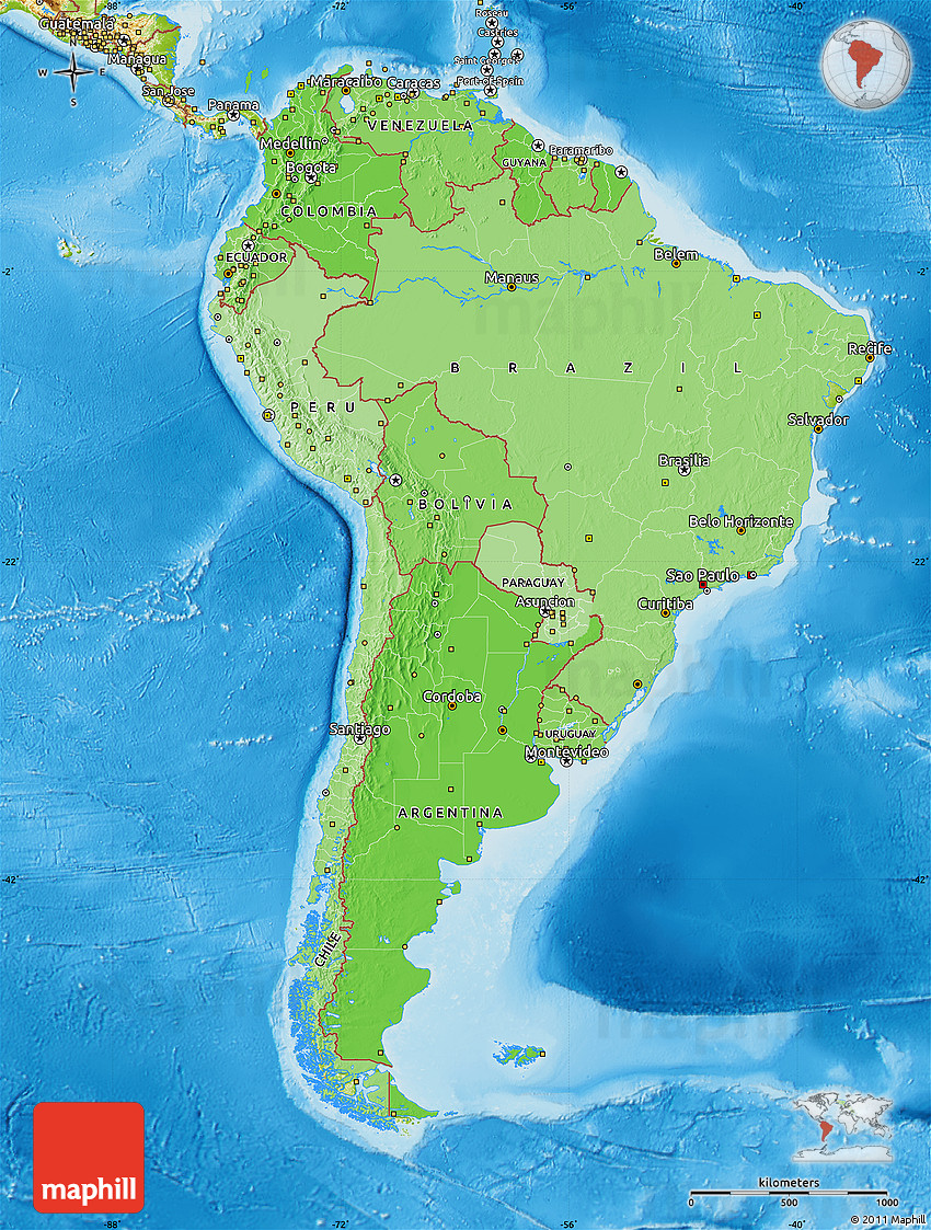 Political Shades Map of South America physical outside