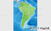 Political Shades Map of South America, shaded relief outside, bathymetry sea