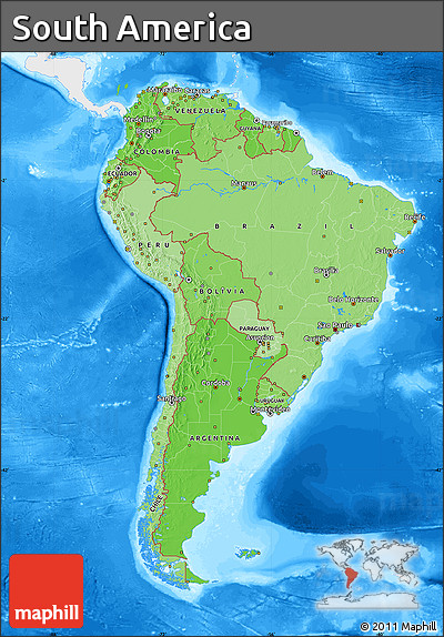 Free political shades map of south america single color for What color is south america