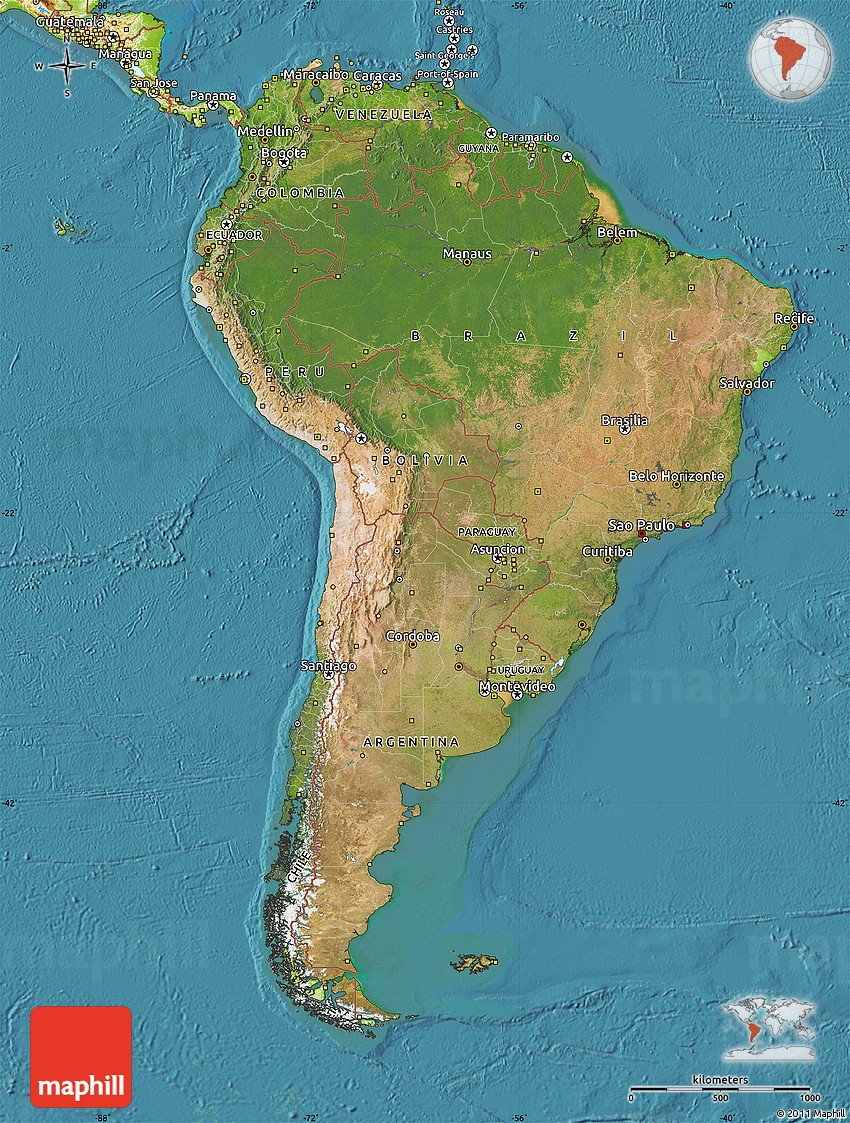 Satellite Map Of South America Physical Outside