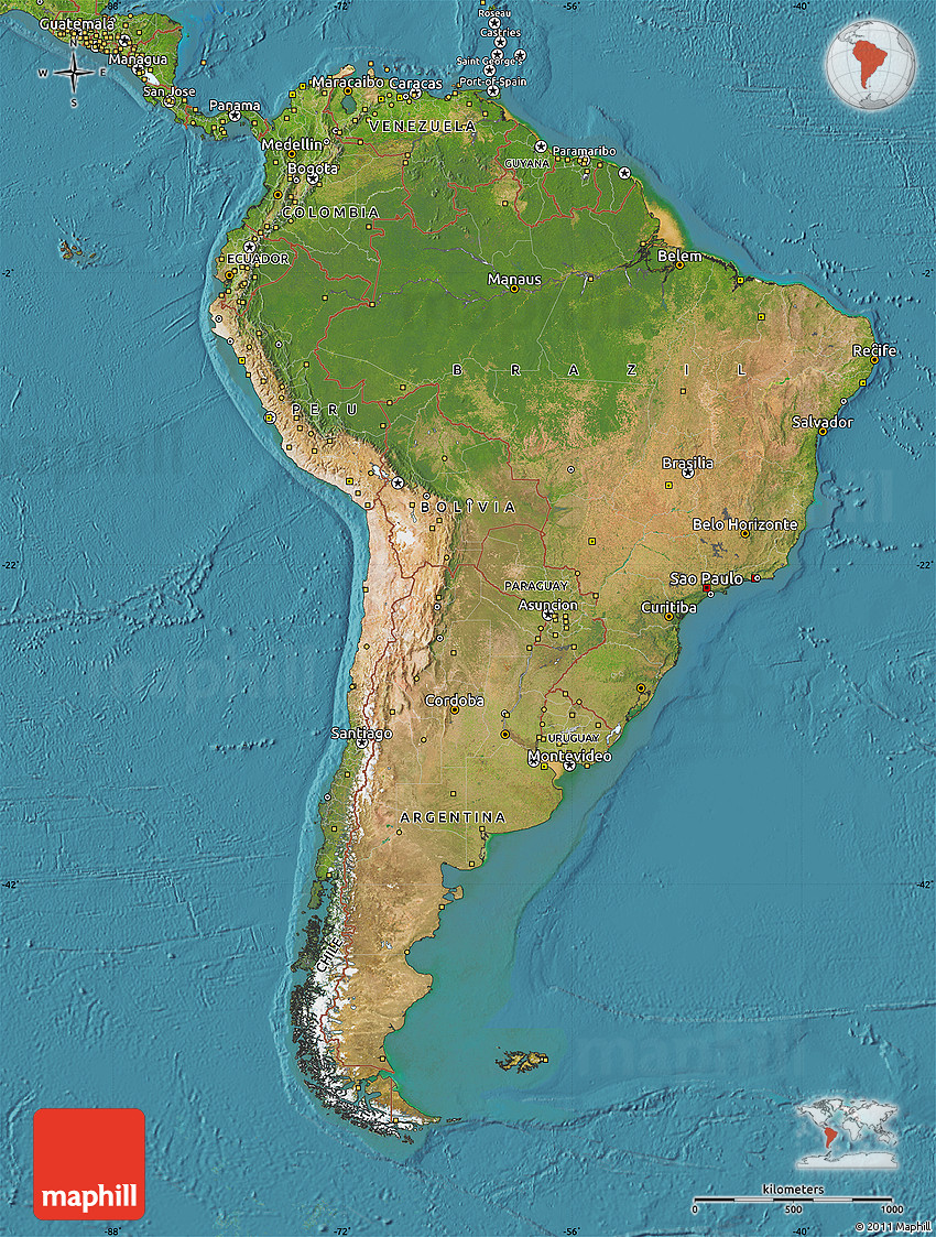 Satellite Map of South America on top 10 vacation destinations in south america, weather map south america, us map of the united states of america, earth map south america, fjords south america, road map south america, topo map south america, topographical map south america, geological map south america, geographical map south america, hotels south america, sports south america, water map south america, tourism south america, russia south america, relief map south america, world map south america, rio de la plata river map south america, digital map south america,