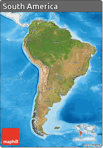 Free satellite map of south america single color outside for What color is south america