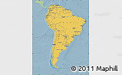 Savanna Style Map of South America, single color outside