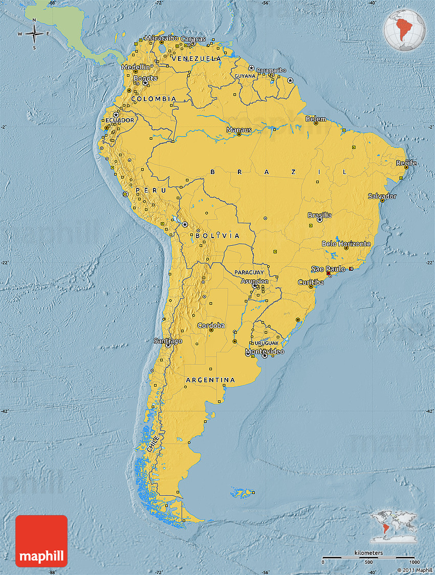 Savanna style map of south america single color outside for What color is south america