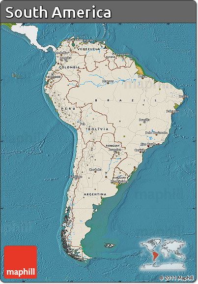 Free shaded relief map of south america single color for What color is south america