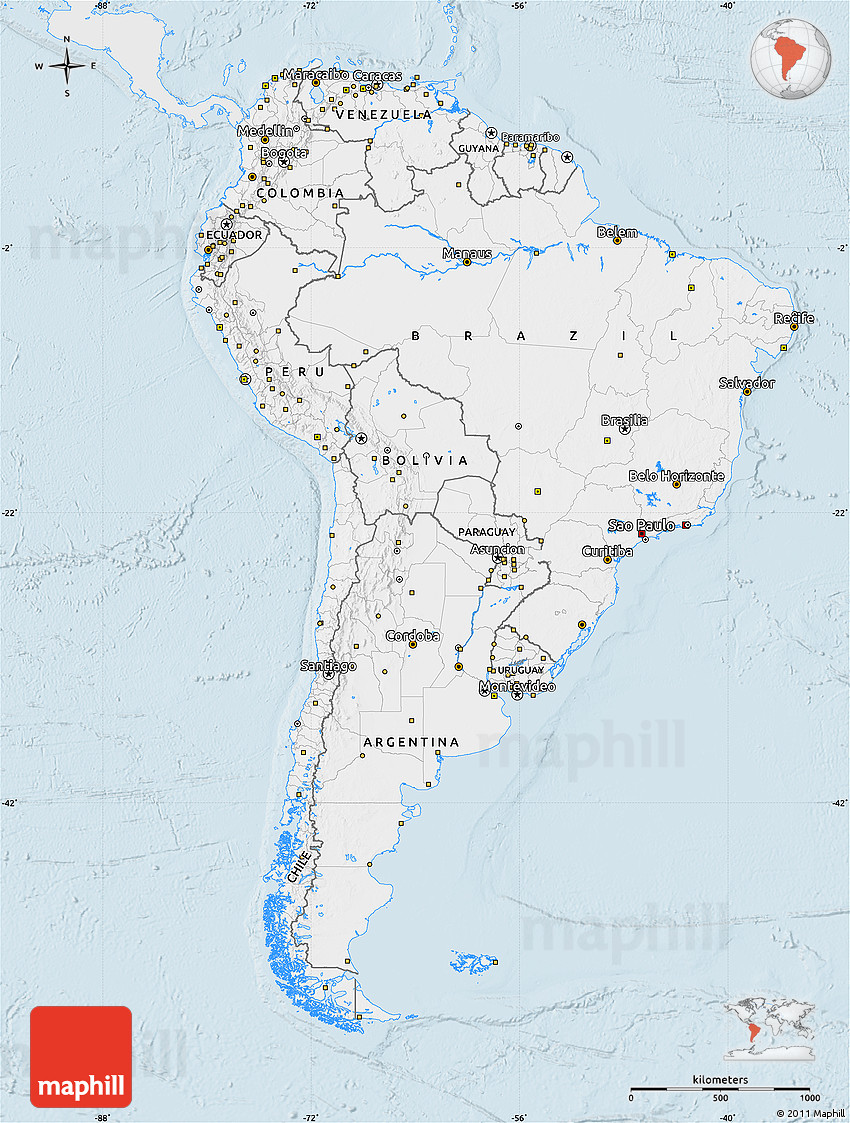 Silver style map of south america single color outside for What color is south america