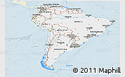 Classic Style Panoramic Map of South America, single color outside