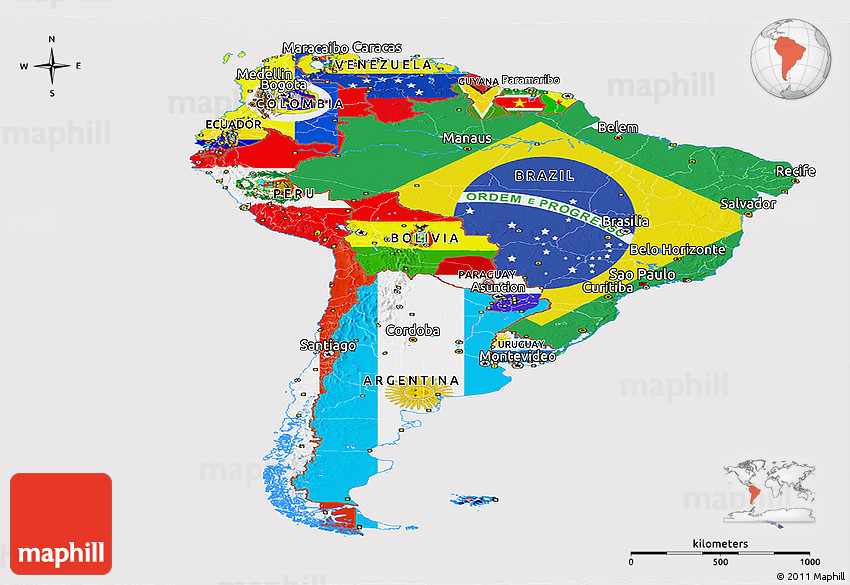 Flag Panoramic Map of South America