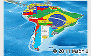 Flag Panoramic Map of South America, political shades outside
