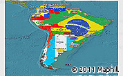 Flag Panoramic Map of South America, satellite outside