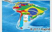 Flag Panoramic Map of South America, shaded relief outside
