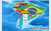 Flag Panoramic Map of South America, single color outside, bathymetry sea