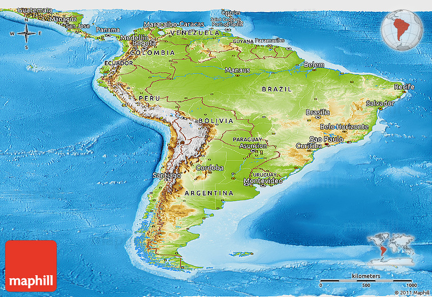 Physical Panoramic Map Of South America - South america relief map peru