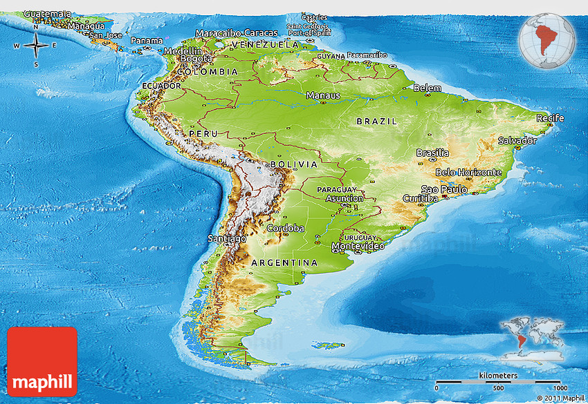 Physical Panoramic Map of South America political