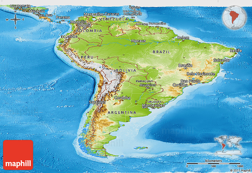 Physical Panoramic Map of South America, political outside, shaded ...