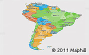 Political Panoramic Map of South America, cropped outside