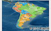 Political Panoramic Map of South America, darken